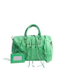 Balenciaga - Green Leather Medium Classic Polly Boston Bag - Lyst