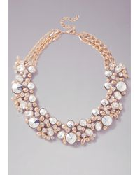 Bebe | Metallic Multi-stone Floral Necklace | Lyst