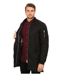 Scotch & Soda | Black Quilted Long Bomber Jacket for Men | Lyst