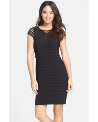 Adrianna Papell | Black Corded Yoke Pleat Jersey Sheath Dress | Lyst