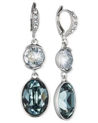 Givenchy | Blue Crystal Double Drop Earrings | Lyst
