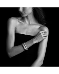 David Yurman - Metallic Metro Curb Hoop Earrings with Diamonds - Lyst
