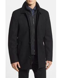 Vince Camuto | Black Melton Car Coat With Removable Bib for Men | Lyst
