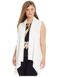 Calvin Klein | White Plus Size Flyaway Sweater Vest | Lyst