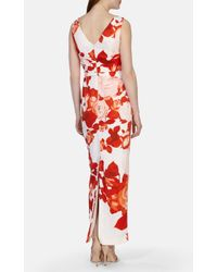 Karen Millen | Red Floral Print Maxi Dress | Lyst