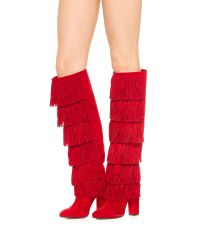 Paul Andrew - Red Tara Tall Fringe Boots - Persimmon - Lyst