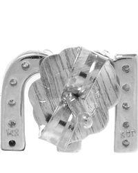 KC Designs - Metallic White Gold Diamond M Single Stud Earring - Lyst