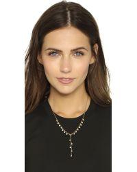 Rebecca Minkoff - Metallic Crystal Dainty Stone Y Necklace - Gold/clear - Lyst