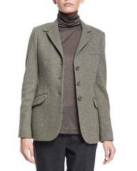 Loro Piana - Gray Mini Houndstooth Cashmere-blend Jacket - Lyst