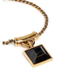 Alexander McQueen | Black Tiger Eye Square Pendant Necklace | Lyst