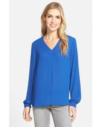 Pleione | Blue High/low V-neck Blouse | Lyst