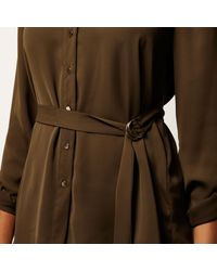 River Island - Brown Khaki Green Belted Shirt - Lyst