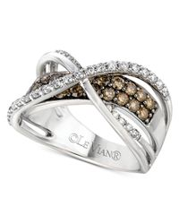 Le Vian - Brown Diamond White And Chocolate Diamond Crossover Ring (1-1/4 Ct. T.W.) In 14K White Gold - Lyst