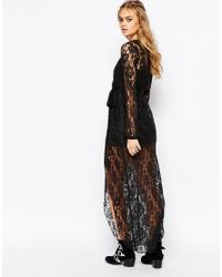Band Of Gypsies - Black Lace Wrap Maxi Dress - Lyst