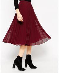 ASOS - Purple Pleated Midi Skirt - Lyst
