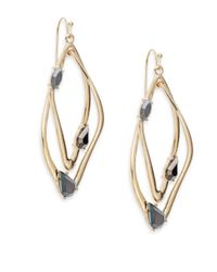 Saks Fifth Avenue - Metallic Iridescent Stone Interlocking Drop Earrings/goldtone - Lyst