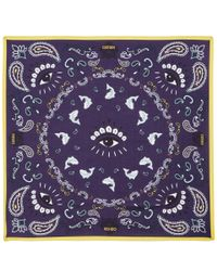 KENZO | Blue Navy Motif Bandana Silk-Blend Scarf | Lyst