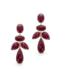 Anne Sisteron - Purple 14kt Yellow Gold Ruby Diamond Earrings - Lyst