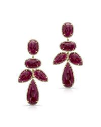 Anne Sisteron | Purple 14kt Yellow Gold Ruby Diamond Earrings | Lyst