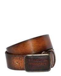 DSquared² - Black 40mm Faded Brushed Leather Belt for Men - Lyst