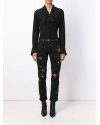MSGM - Black Customised Jeans - Lyst