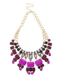 Oasis - Purple 2 Row Jewelled Necklace - Lyst