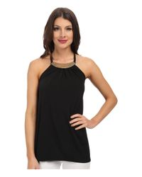 MICHAEL Michael Kors - Black Metal Neck Halter Top - Lyst