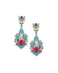 TOPSHOP - Blue Premium Bright Mixed Stone Drop Earrings - Lyst
