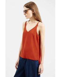 TOPSHOP - Brown V-neck Tank - Lyst