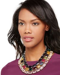 R.j. Graziano - Metallic Emerald-crystal Station Necklace - Lyst