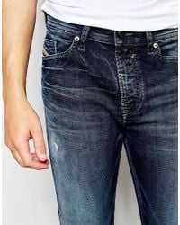 DIESEL - Blue Jogg Jeans Spender 669d Slim Tapered Superstretch Dark Distressed Wash for Men - Lyst