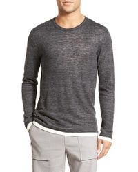Vince | Black Long Sleeve Double Layer Linen T-shirt for Men | Lyst