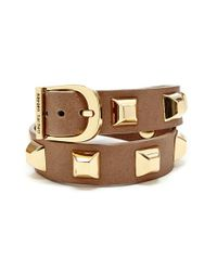 hayden-harnett - Brown 'double Tour Ramone' Studded Leather Cuff - Mushroom - Lyst