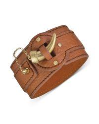The Sak - Metallic Goldtone Tusk Closure Wide Leather Cuff Bracelet - Lyst