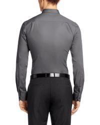 HUGO - Gray Slim-Fit Shirt In Cotton Blend: 'Elisha' for Men - Lyst