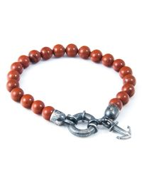 Anchor & Crew - Red Jasper Port Natural Stone Bracelet for Men - Lyst