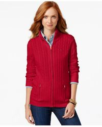 Tommy Hilfiger | Red Cable-knit Zip Front Sweater | Lyst