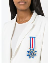 Shourouk | Blue Embellished Medal Brooch | Lyst