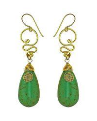Aeravida - Cute Green Howlite Teardrop Brass Swirl Earrings - Lyst