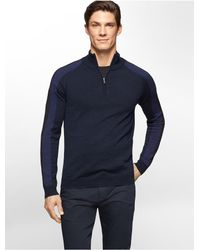 Calvin Klein | Blue White Label Merino Wool Colorblock 1/4 Zip Sweater for Men | Lyst