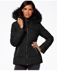 Calvin Klein - Black Water-Resistant Hooded Faux-Fur-Trimmed Quilted Puffer Coat - Lyst
