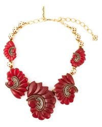 Oscar de la Renta - Metallic Cascading Flower Necklace - Lyst