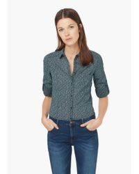 Mango | Blue Printed Cotton Shirt | Lyst