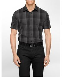 Calvin Klein - Black White Label Classic Fit Medium Plaid Multi Check Short Sleeve Shirt for Men - Lyst