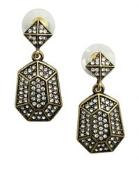 R.j. Graziano - Metallic Gold Linear Hanging Pave Earring - Lyst