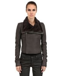 Rick Owens - Gray Classic Shearling Nappa Leather Jacket for Men - Lyst