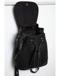 Forever 21 - Black Faux Leather Drawstring Backpack - Lyst
