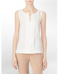 Calvin Klein | White Label Pleated Sleeveless Top | Lyst