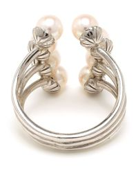 Yvonne Léon | Metallic 18K White Gold Eight Pearl Ring | Lyst
