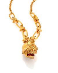 Alexander McQueen - Metallic Punk Rose Skull Pendant Necklace - Lyst
